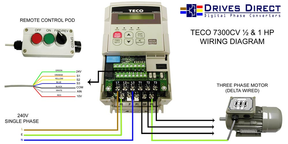 drives direct digital phase converters downloads rh drivesdirect co uk 3 phase motor inverter wiring diagram RV Inverter Wiring Diagram
