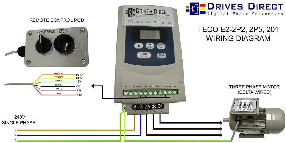 WEB E2 201 CONNECTION DIAGRAM WITH REV OFF FWD + SPEED drives direct digital phase converters downloads 220v 3 phase wiring diagram at fashall.co